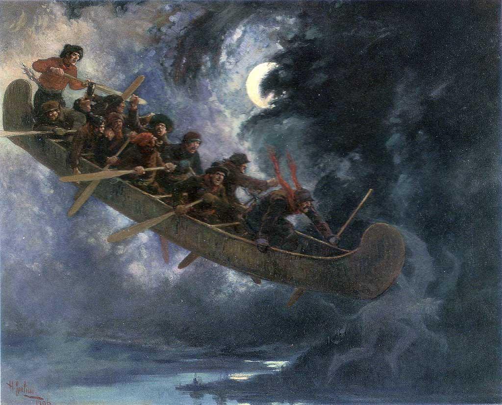 La légende de la chasse-galerie a inspiré de nombreux artistes. (Henri Julien, 1906, Musée des beaux-arts du Québec, domaine public)