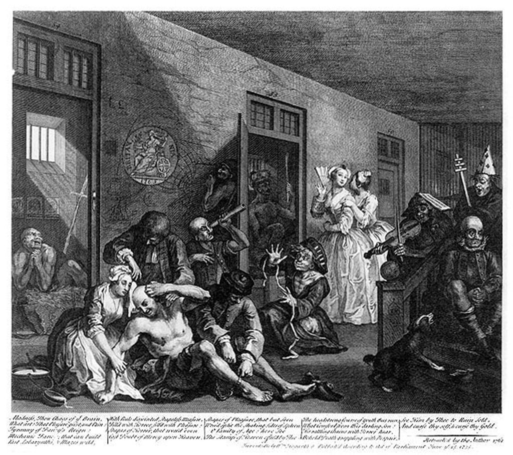 William Hogarth, A Rakes Progress, Plate 8, In The Madhouse