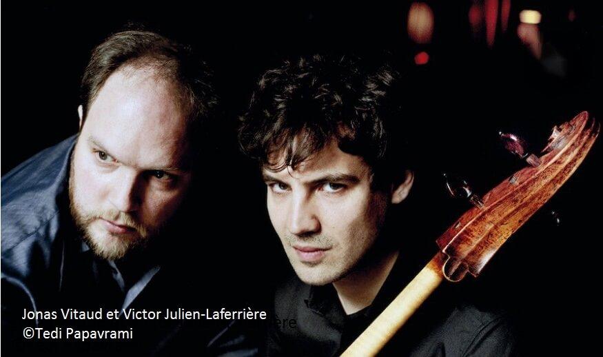 Jonas Vitaud, pianiste, et Victor Julien-Laferrière, violoncelliste. (Photo: Richard Dumas)