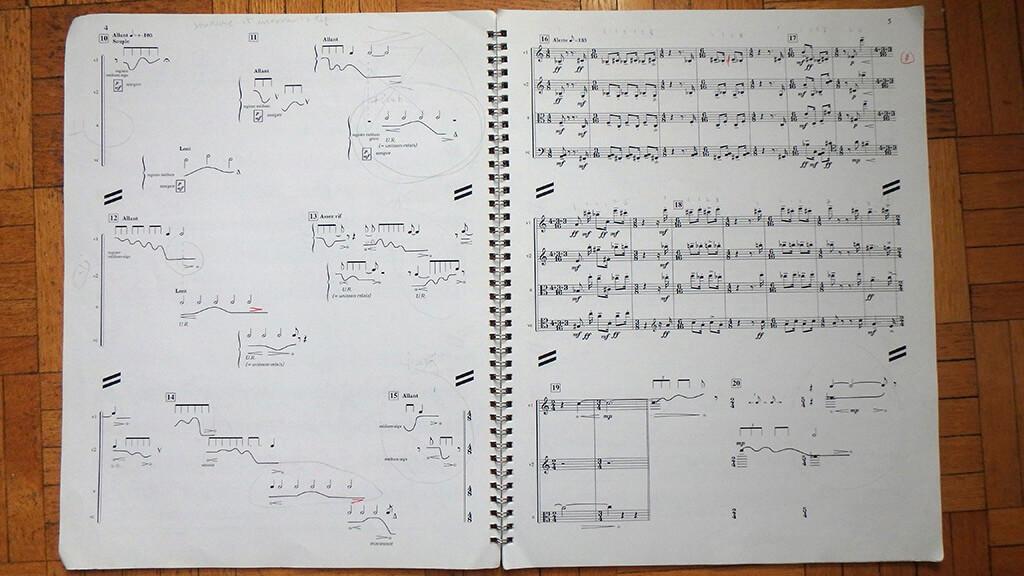 Certaines pièces de musique contemporaine requièrent une graphie que les logiciels ne prévoient pas. Ici Croissant, de Gilles Tremblay. (Crédit Hélène Roulot-Ganzmann)