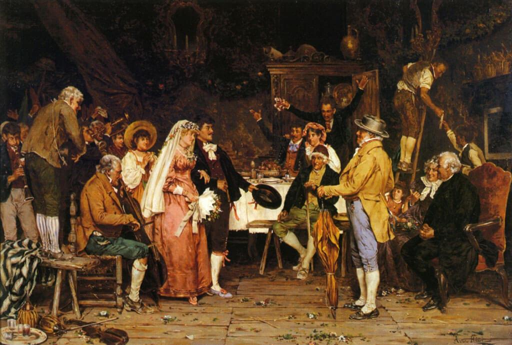 Il matrimonio segreto, opéra de Domenico Cimarosa, relate les mésaventures de Paolino et Carolina, mariés en secret depuis deux mois. (Image: The Wedding Feast, Arturo Ricci)