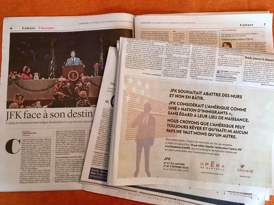 La publicité de l'Opéra de Montréal telle que publiée dans les journaux ce week-end. (Photo: page Facebook de l'Opéra de Montréal)