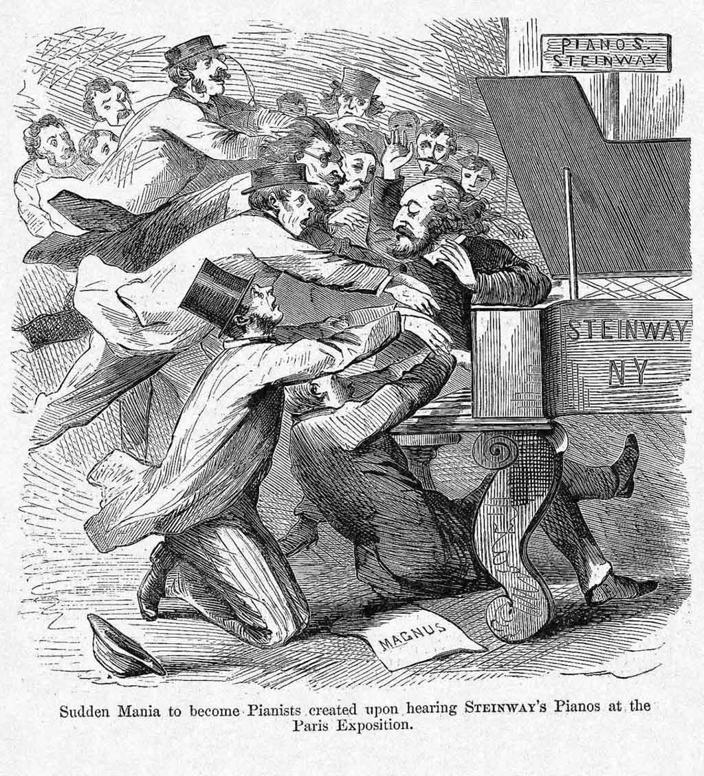 "Sudden Mania to Become Pianists created upon hearing Steinway's Piano at the Paris Exposition. After a lithograph by ""Cham"", Amédée de Noé. From : Harper's Weekly, Issue August 10th, 1867, Reporting on the 1867 Paris Exposition"