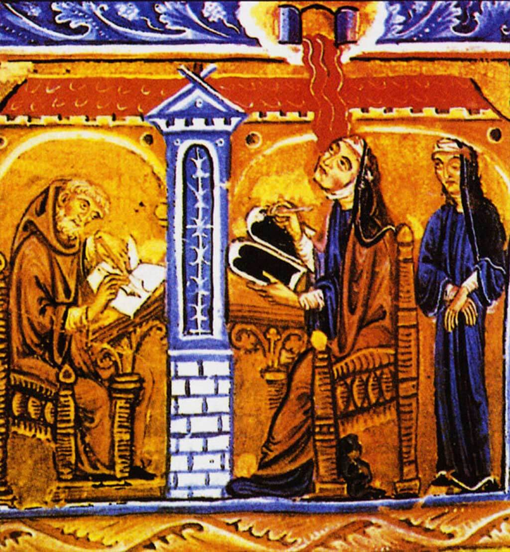 Hildegarde reçoit une vision. (Image de la collection de la Biblioteca Statale-Lucca