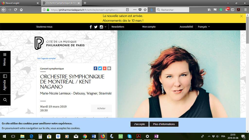 Affichage du concert de Marie-Nicole Lemieux avec l'OSM sur le site de la Philharmonie de Paris, capture d'écran effectuée le 6 mars 2018.