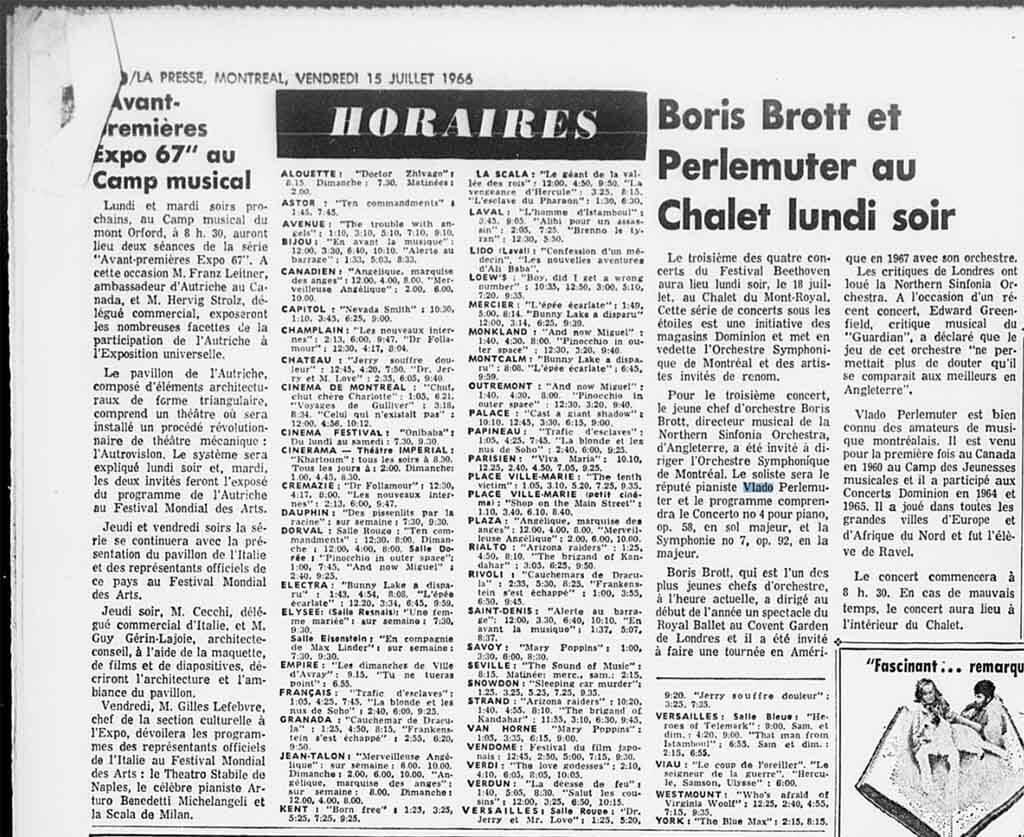 Vlado Perlemuter and Boris Brott perform on Mount Royal, July 1966 (Courtesy BANQ)