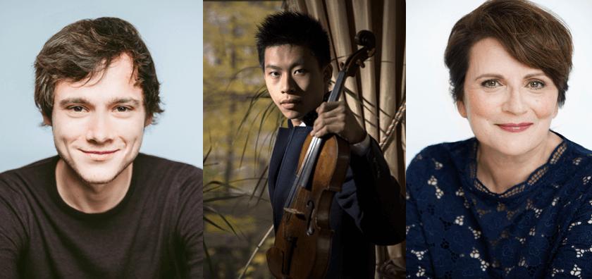 Nicolas Ellis, Kerson Leong et Marie-Thérèse Fortin. (Photos: courtoisie du Concours de musique du Canada-Canimex)