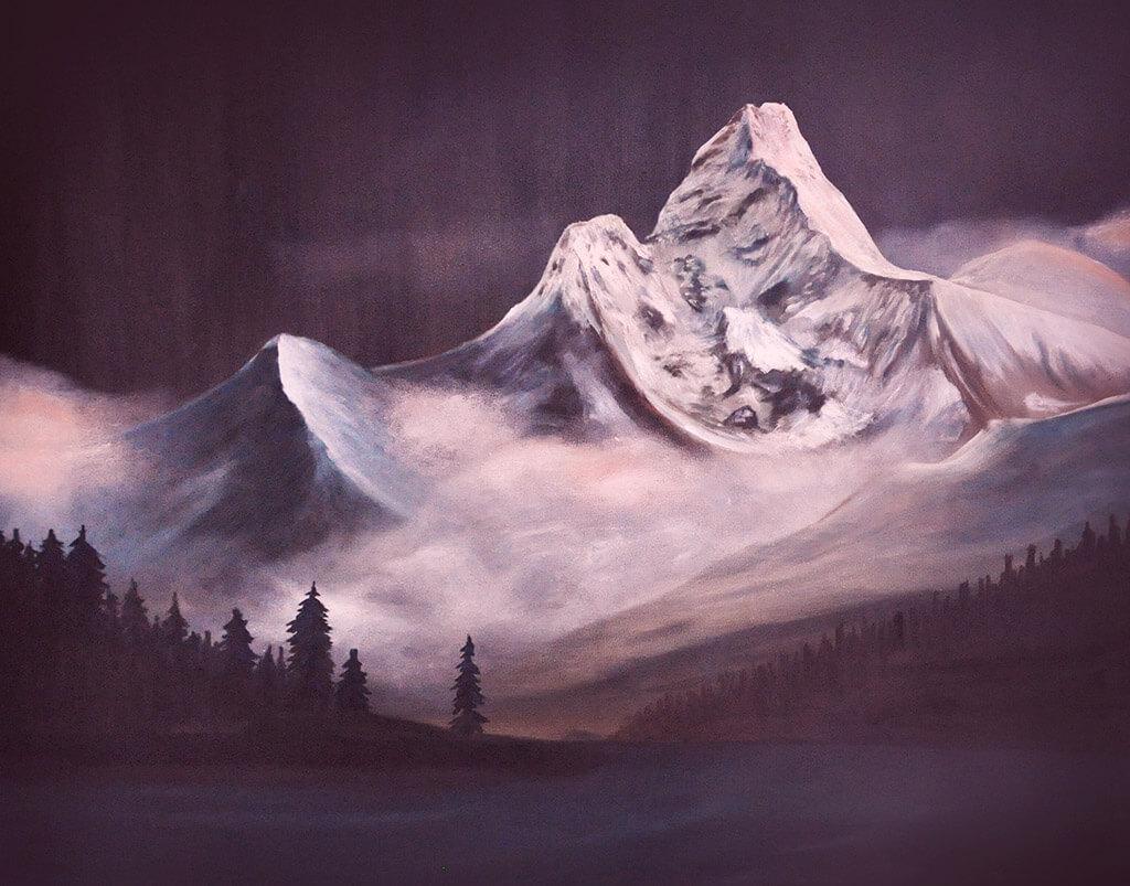Le mont Ama Dablam, Himalaya. (Peinture: Airat Ichmouratov)