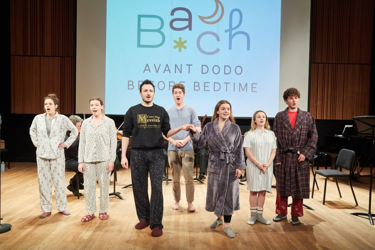 The cast takes a bow after a succesful performance of Bach Before Bedtime. (Photo: courtesy)