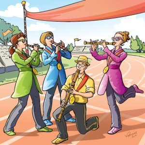 Les membres de Flûtes Alors! se transforment en athlètes de la flûte à bec aux Jeunesses musicales. (Illustration : Lorraine Beaudoin)