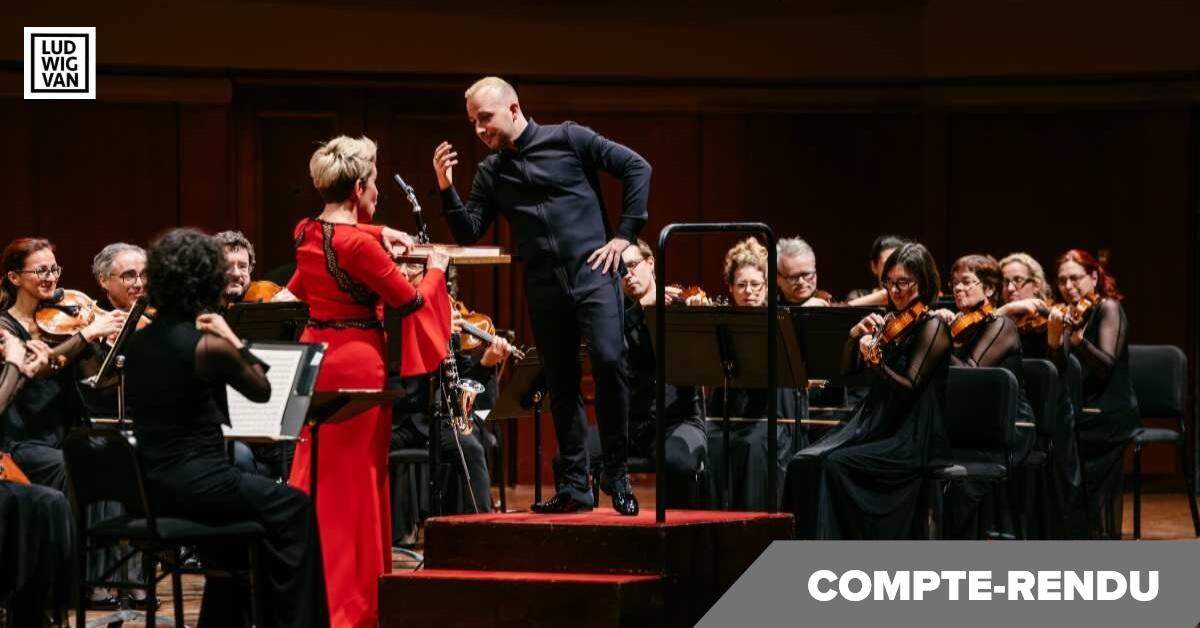 Joyce DiDonato et Yannick Nézet-Séguin s'amusent lors du rappel, Ann Arbor, 20 novembre 2019. Tournée de l'Orchestre métropolitain (Photo : François Goupil)