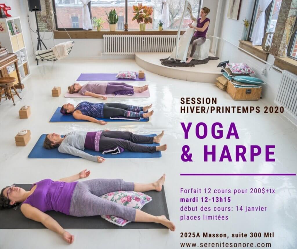 publicité cours de yoga et harpe Annabelle Renzo