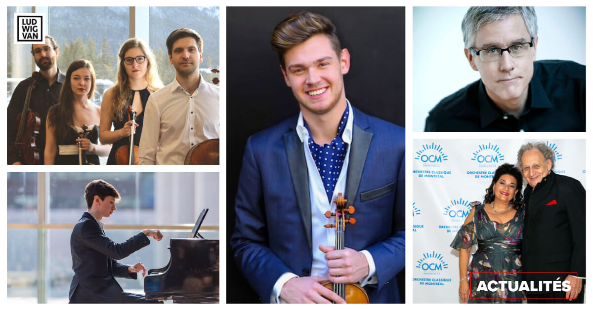 De gauche à droite et de haut en bas: le quatuor Andara, Emmanuel Roberts Dugal, Blake Pouliot, Tim Brady, Sharon Azrieli avec Boris Brott. (Crédits: les crédits des photos sont dans l'article)