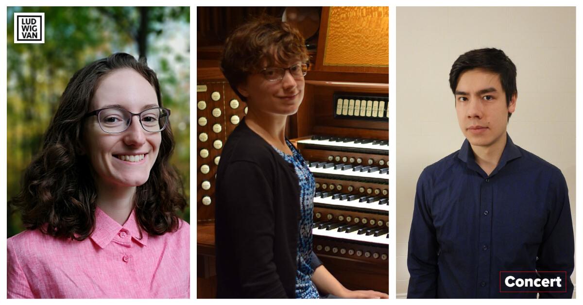 Rosemarie Tougas, Sienna Stribling et Nicholas Gagnon-Choy seront les invités de la Société des orgues de Maisonneuve pour un concert à l'église Très-Saint-nom-de-Jésus, dimanche, le 29 août. (Photos: courtoisie du CIOC)