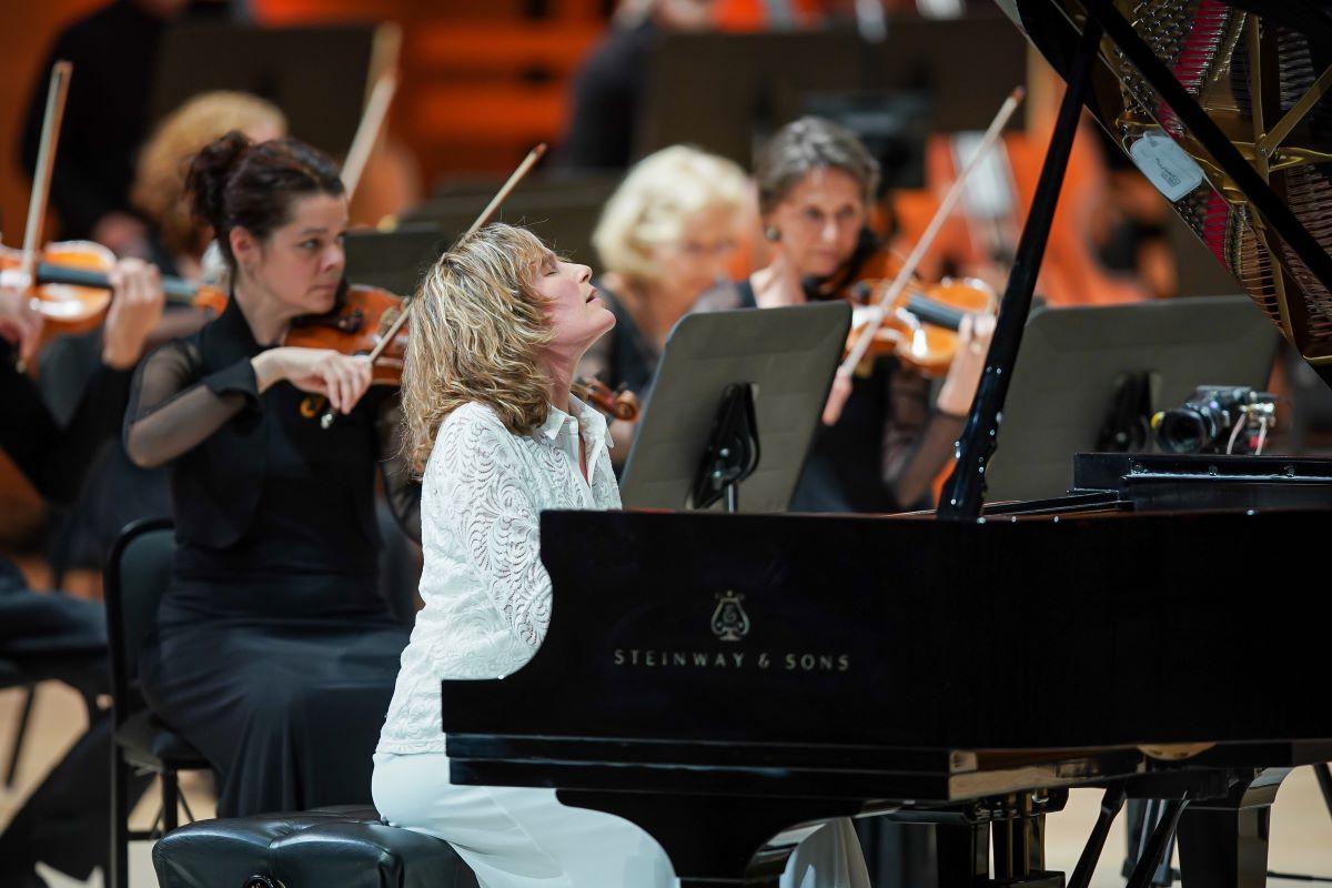 Hélène Grimaud, soliste à l'Orchestre Métropolitain, 30 septembre 2021. (Photo: Antoine Saito)