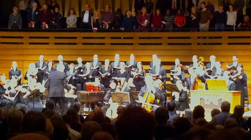 Tafelmusik Baroque Orchestra and Chamber Choir sing the Hallalujah Chorus in Handel's Messiah at Koerner Hall on Wednesday night (John Terauds iPhone photo).