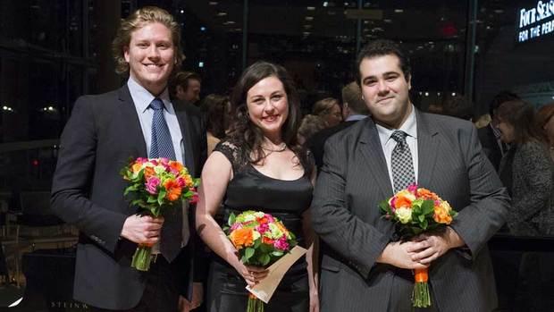 Gordon Bintner; third prize, mezzo-soprano Charlotte Burrage; and second prize, tenor Andrew Haji. (Chris Hutcheson/Canadian Opera Company)