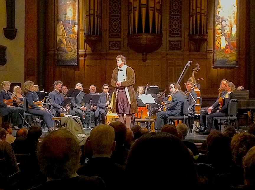 R.H. Thomson and Tafelmusik Baroque Orchestra at Trinity-St Paul's Centre on TRhursday night (John Terauds iPhone photo).