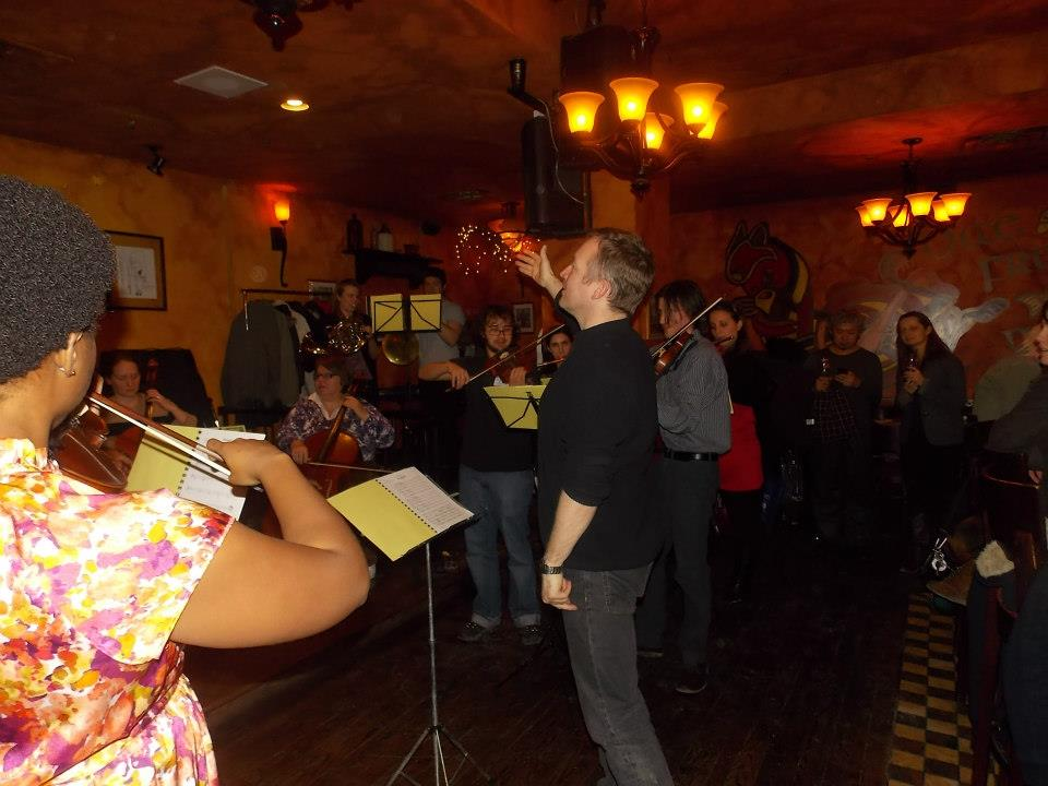 Simon Capet leads a small ensemble at Fioann McCoull's on Jan. 27.