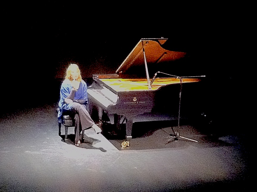 Gabriela Montero solicits musical ideas for her improvisations from her audience at the Jane Mallett Theatre on Tuesday night (John Terauads iPhone photo).