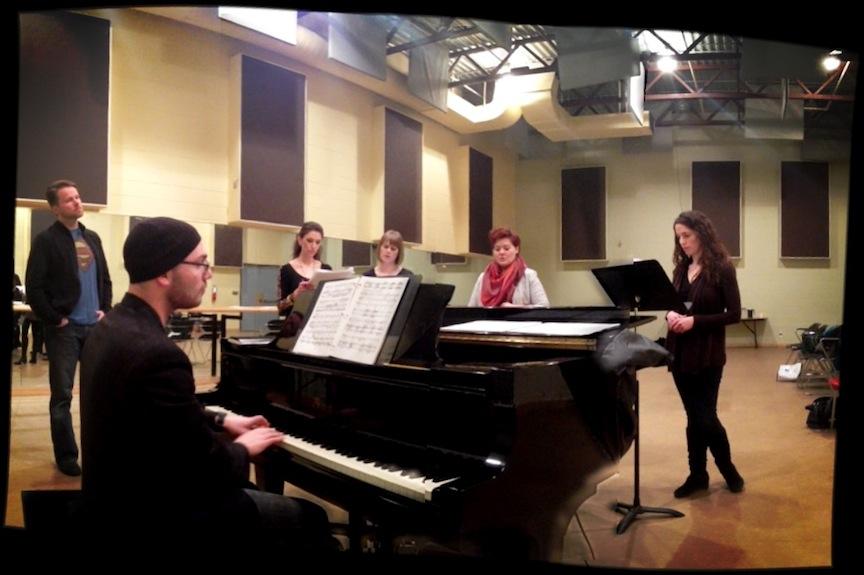 Christopher Mokrzewski rehearsing the Agasint the Grain ensemble at a Canadian Opera Company rehearsal space earlier this week (Joel Ivany photo).