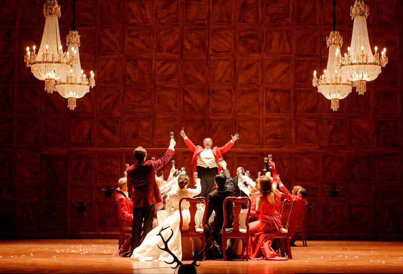 """A scene from a new production of """"Falstaff,"""" conducted by James Levine and directed by Robert Carsen, which will be transmitted live as part of the 2013-14 season of The Met: Live in HD series on December 14, 2013. Royal Opera House (Catherine Ashmore photo)."""