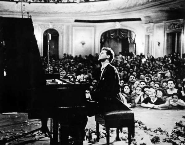 Van Cliburn Foundation, Texas pianist Van Cliburn performs to a packed audience in the Great Hall of the Moscow Conservatory in Moscow, Russia, in April 1958 during the first International Tchaikovsky Competition, which he won.