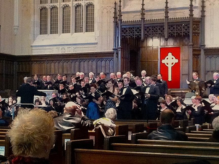 Noel Edison leads the Toronto Mendelssohn Choir and soloists on Saturday afternoon (John Terauds iPhone photo).
