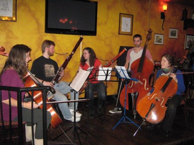 Sybil Herceg-Shanahan, Brett Thomas Freithaler, Kristin Izabel Day, Jeff Cotton and Sarah Jane Johnson at Classical Social No. 3.