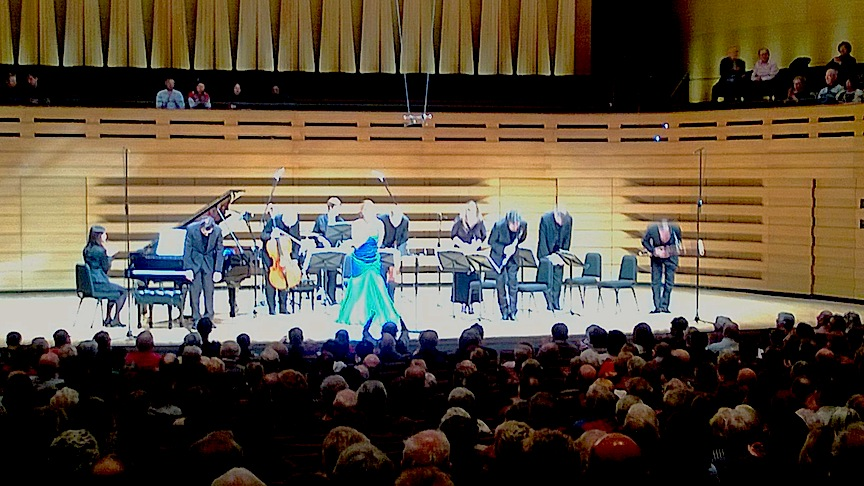 The Amici concert gang takes a bow after Poulenc's Bal Masqué at Koerner Hall (John Terauds phone photo).