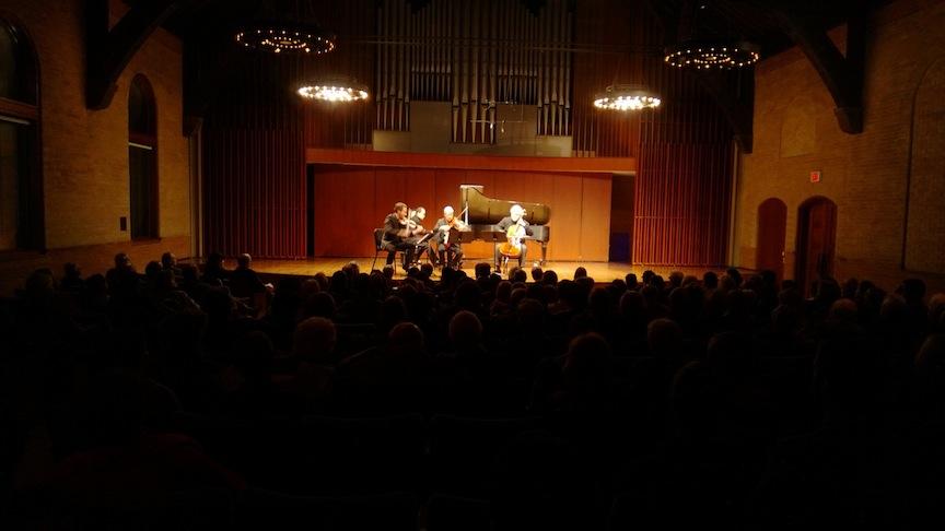 Pianist David Louie, violinist Benjamin Bowman, violist Steven Dannand cellist Brian Epperson of the ARC Ensemble at Mazzoleni Hall on Tuesday night (John Terauds phone photo).