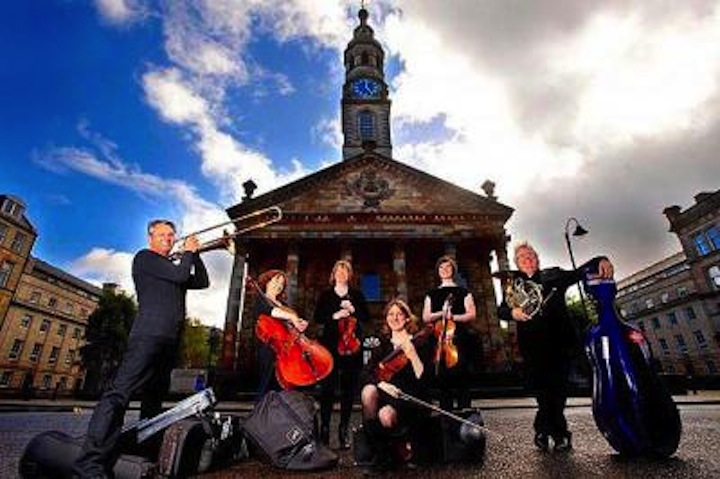 McOpera members in front of St Andrew's church in Glasgow (Colin Meams photo).