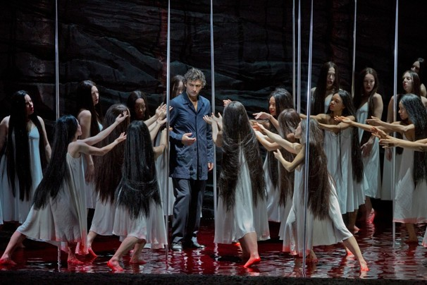 The flower maidens try to rip off Parsifal's clothes in the new Metropolitan Opera production staged by François Girard (Metropolitan Opera photo).