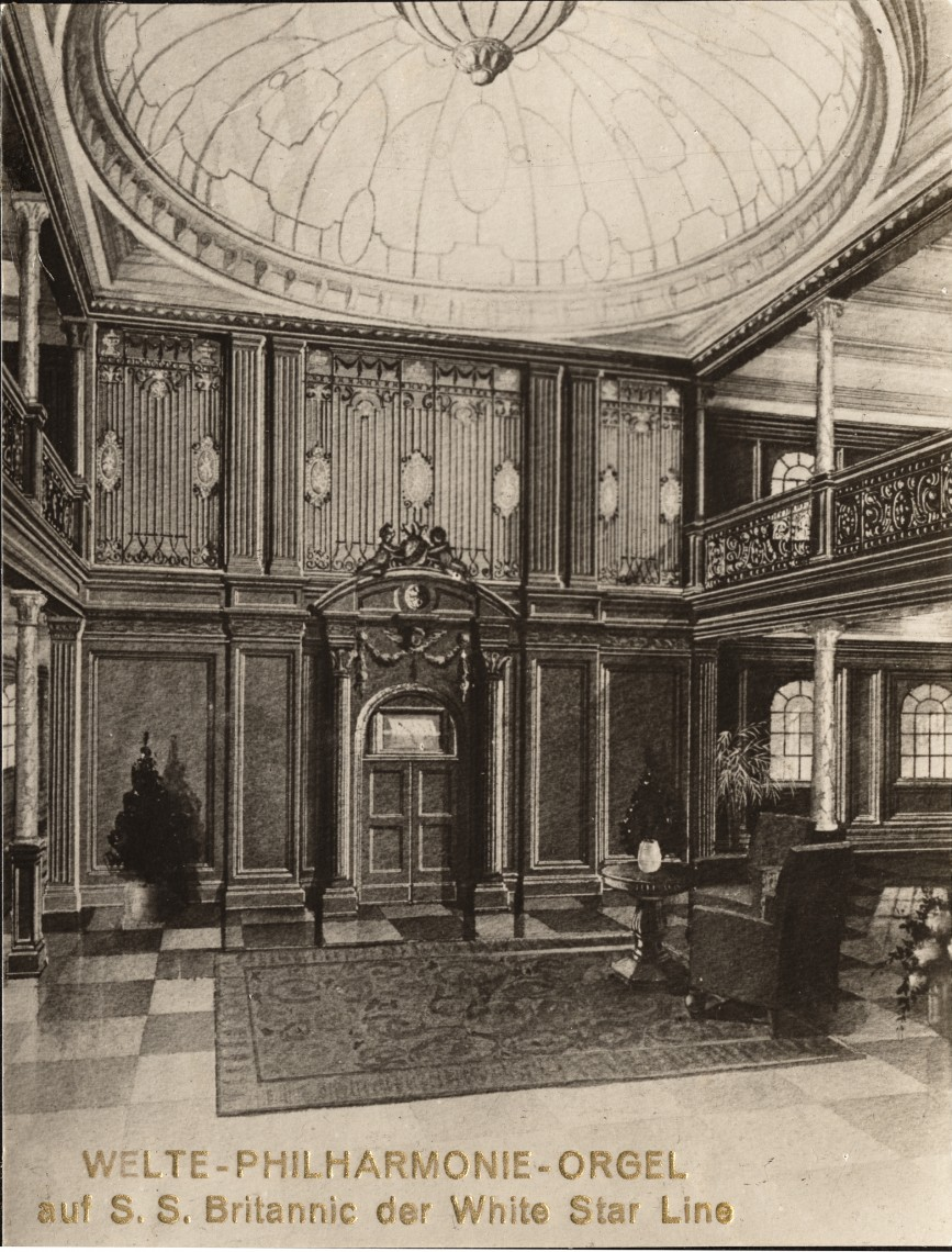 A sketch of the Welte Philharmonic organ that was supposed to have been installed in the Britannic in 1914.