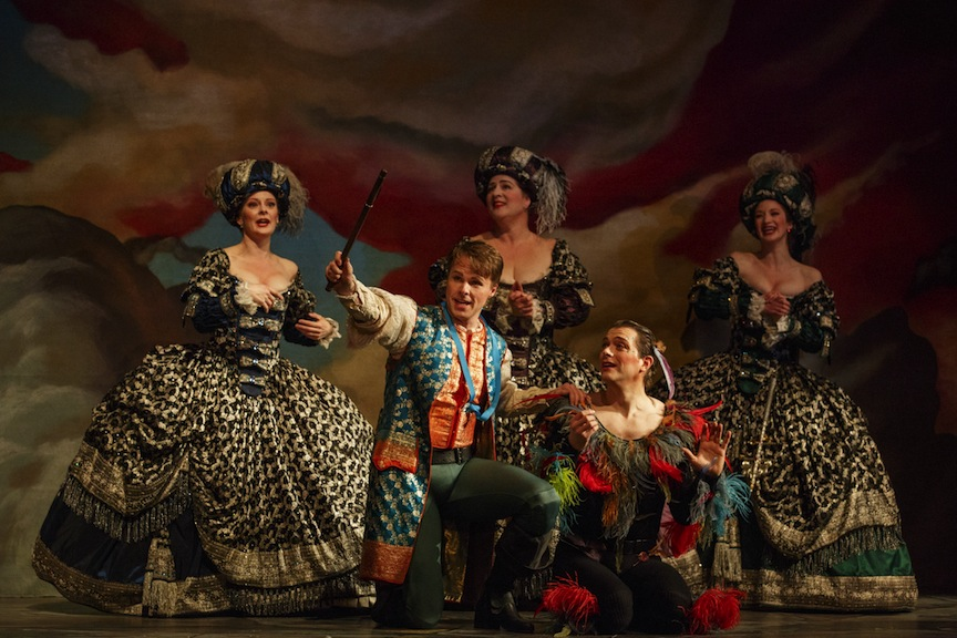 Colin Ainsworth as Tamino, Olivier LaQuerre as Papageno and Carla Huhtanen, Laura Pudwell & Cassandra Warner as The Three Ladies (Bruce Zinger photo).