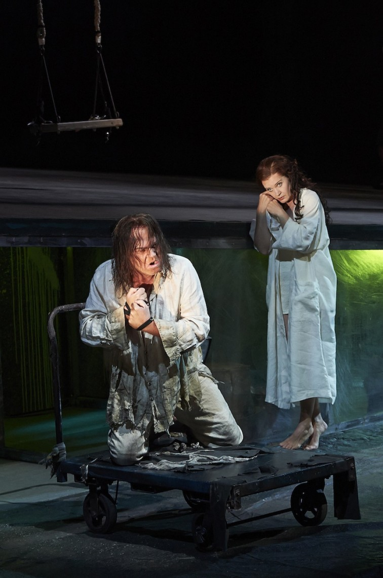 Martin Gantner as John the Baptist and Erika Sunnegardh as Salome in the Canadian Opera Company's production of Salome (Michael Cooper photo).