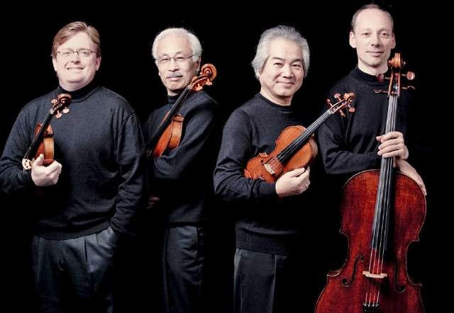 Martin Beaver, Kikuei Ikeda, Kazuhide Isomura and Clive Greensmith of the Tokyo String Quartet.