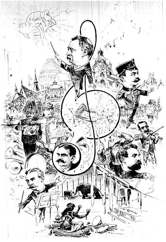 A cartoon depicting conductor Thoedore Thomas (1835-1905), from Ezra Schabas's biography.