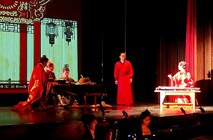 Derek Kwan and Marion Newman, to the right, are standouts in Toronto Masque Theatre's premiere of The Lesson of Da Ji at the Al Green Theatre (John Terauds phone photo).