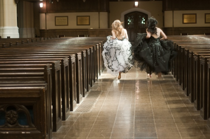Sarah Svenden, left, and Rachel Mahon in the ball gowns they use while playing organ together (Adrian Bexall photo).