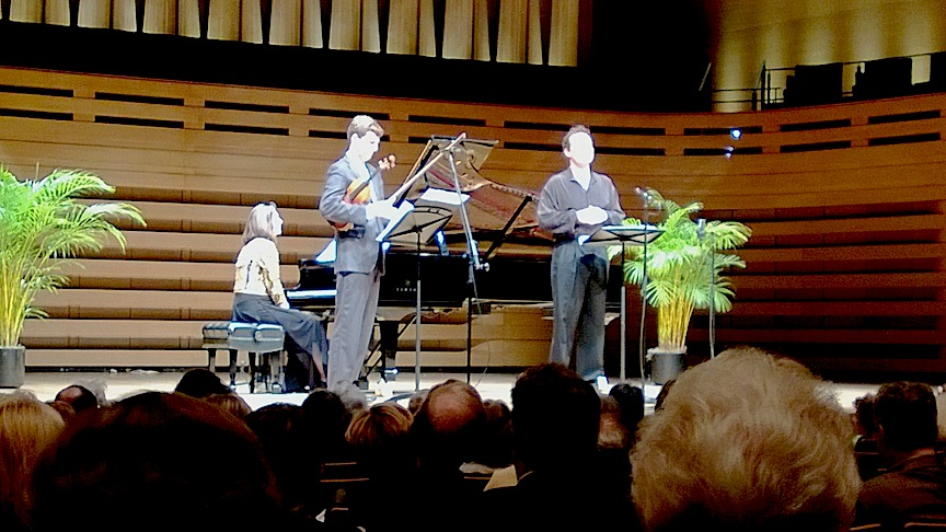 Carolyn Maule, james Ehnes and Russell Braun at Koerner Hall on Wednesday afternoon (John Terauds phone photo).