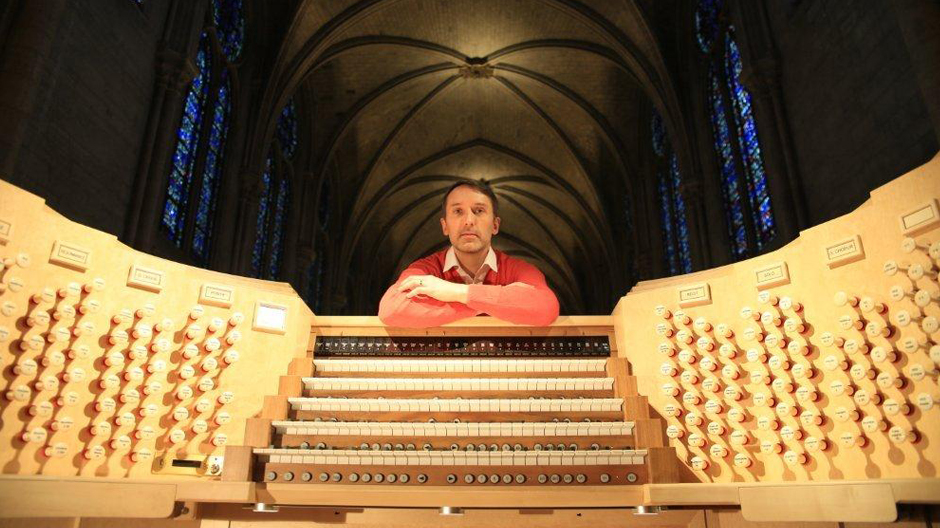 Olivier Latry at the brand-new organ console at Notre-Dame Cathedral in Paris.