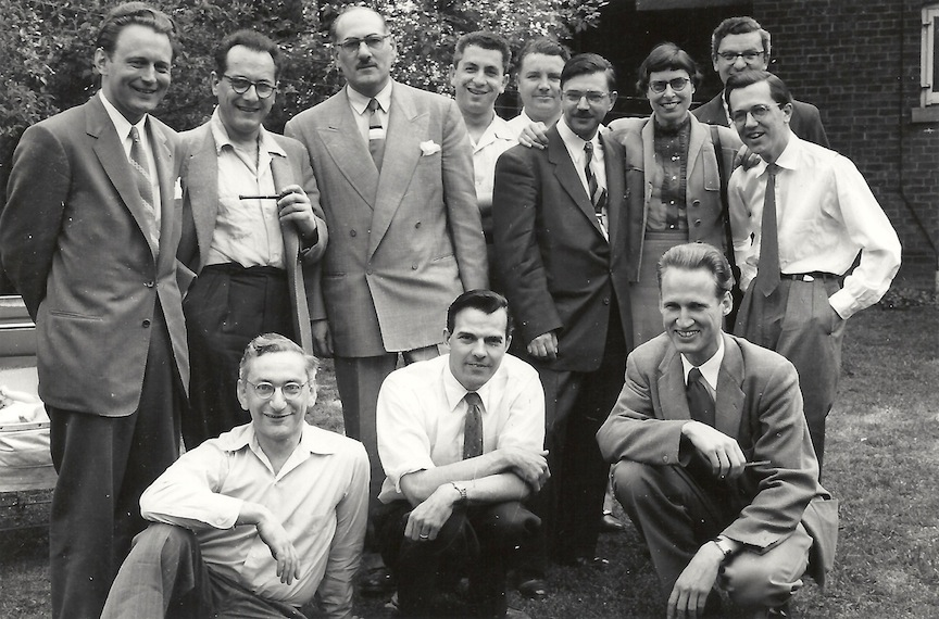 Helmut Kallmann, seated bottom left, at the 1955 annual general meeting of the then four-year-old Canadian League of Composers. John Beckwith stands at the far right of the second row.