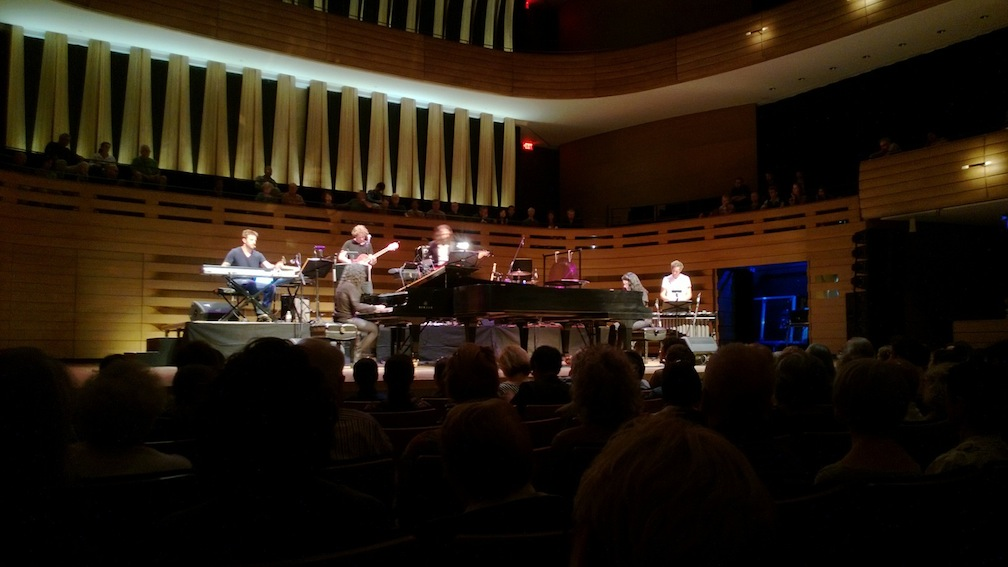 The musicians of the Minimalist dream House Project on the Koerner Hall stage Thursday night (John Terauds phone photo).