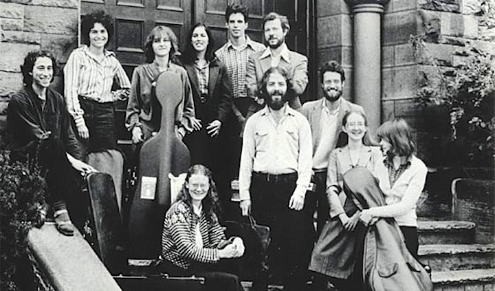 Jeanne Lamon (second from left, back row) and her Tafelmusik colelagues on the steps of Trinity-St Paul's Church in 1981 (Tafelmusik photo).