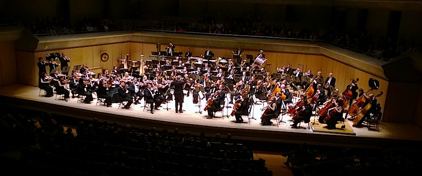 The Mariinsky Orchestra and Valery Gergiev at Roy Thomson Hall on Sunday afternoon (John Terauds phone photo).