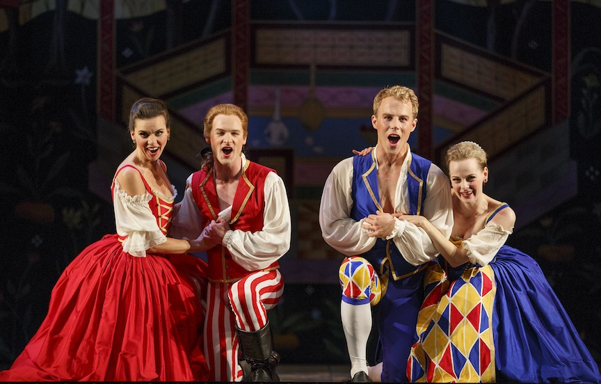 Ambur Braid, Lawrence Wiliford, Adam Fisher and Carla Huhtanen in Opera Atelier's production of Abduction from the Seraglio (Bruce Zinger photo).