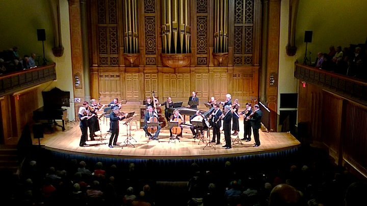 Tafelmusik and their guest leader, violinist Manfredo Kraemer, in the newly christened Jeanne Lamon Hall on Friday night (John Terauds phone photo).