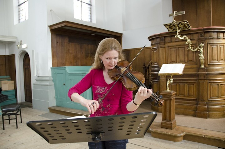 Rachel Podger recording her album in May, in the Doopsgezinde Kerk in Haarlem, Holland.