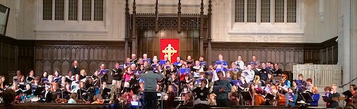 Narrator Diego matamoros, soloists Lesley Bouza and Colin Ainsworth, the Toronto Mendelssohn Choir and orchestra perform at the Tuesday-night dress rehearsal at Yorkminster Park Baptist Church (John terauds iPhone photo).